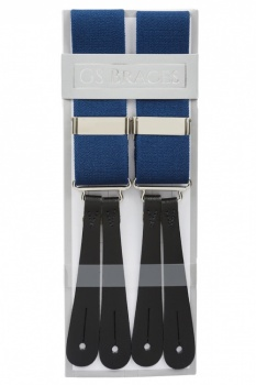 Classic Plain Blue Y Back Elastic Trouser Braces With Leather Ends by Gents Shop